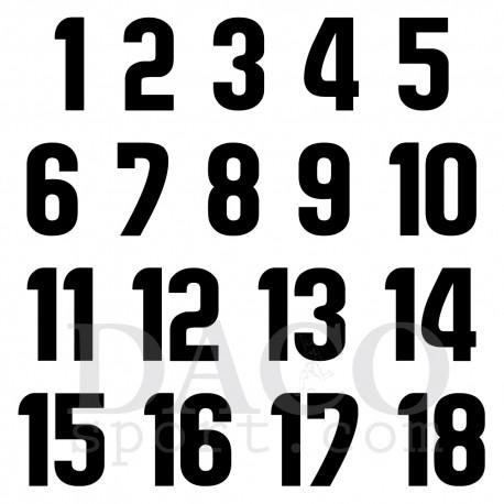 Numerazione da 1 a 18 altezza 7 cm applicata