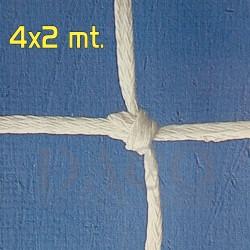 LaRete Coppia Rete Calcio Ridotto 4x2 Maglia Quadra mm 2,5 Bianco